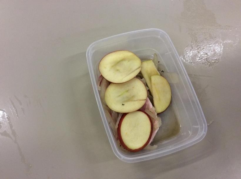 Pork with apple slices