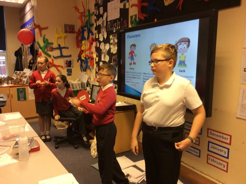 4 children delivering a lesson to Year 6