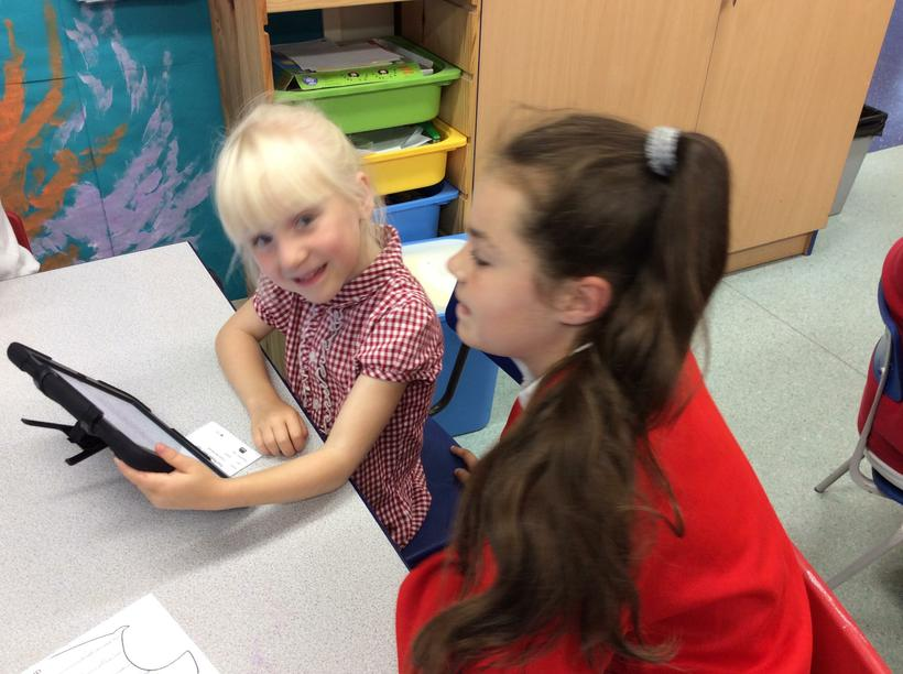 Class 9 helped us to create our story on the iPads