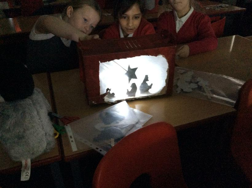 The Nativity story using shadow puppets.