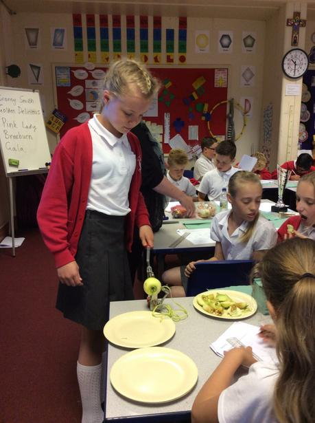 We used Mrs Kirk's amazing peeler, corer, slicer.