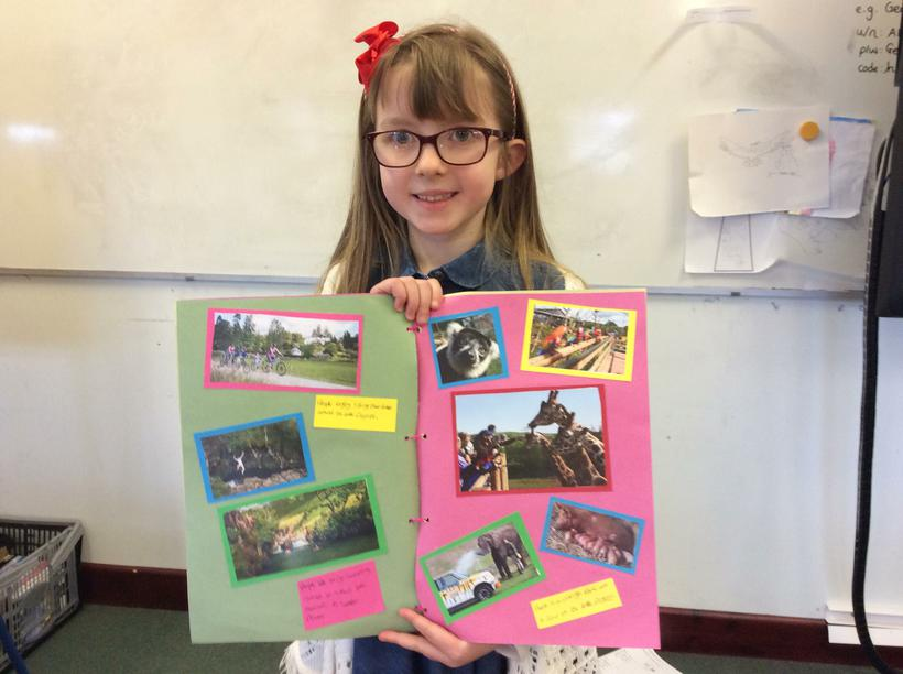 Keira's book full of facts and photos.