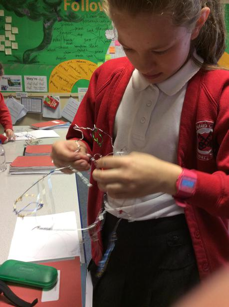 Y6 helped the younger children to cut their wire