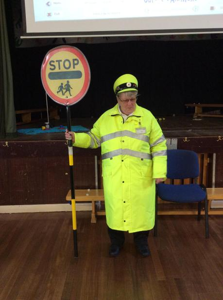 Ann the lollipop lady came into school.