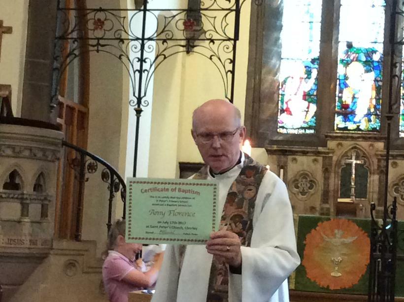 A baptism certificate.