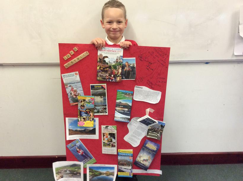 Oscar's fact poster with Kendal Mint Cake.
