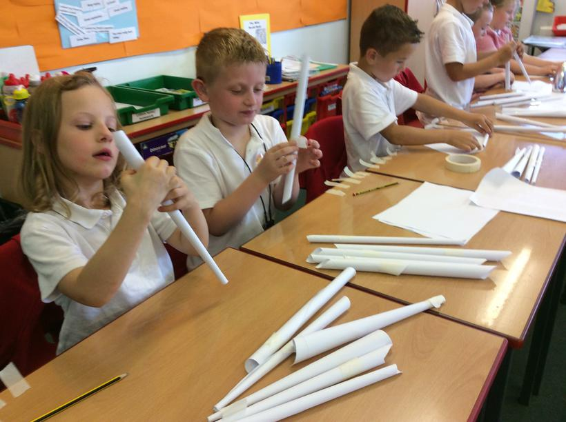 Making 'spindles'.