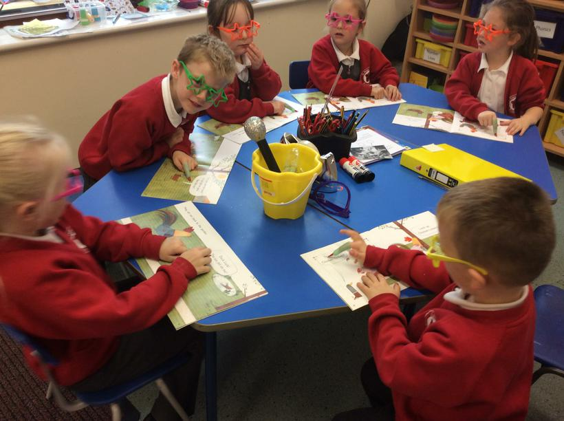 We follow the text  using green fingers.
