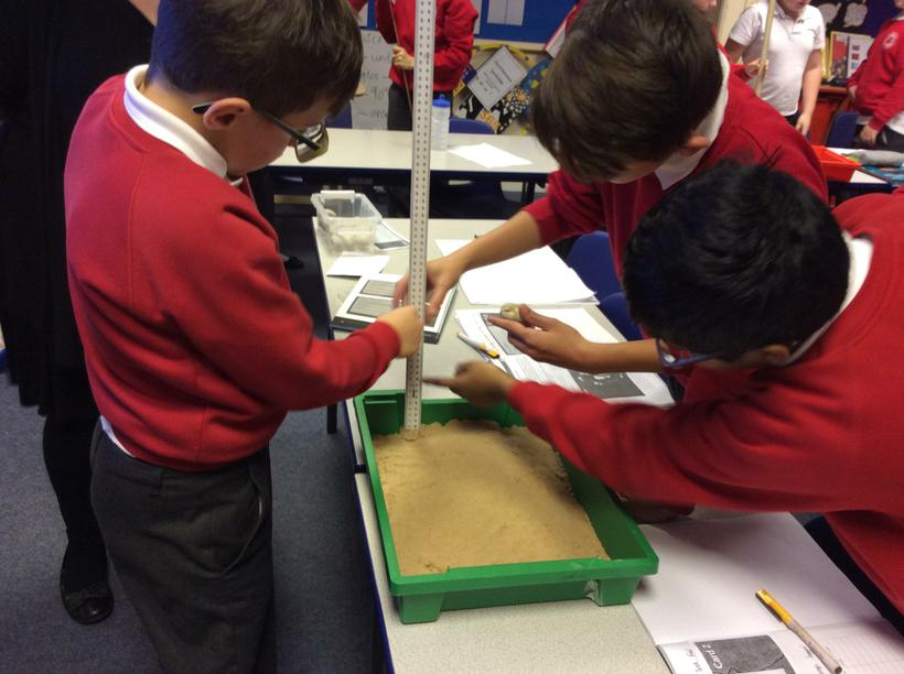 Measuring the depth and width of the crater