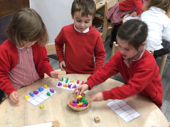 Taking turns in a maths game!