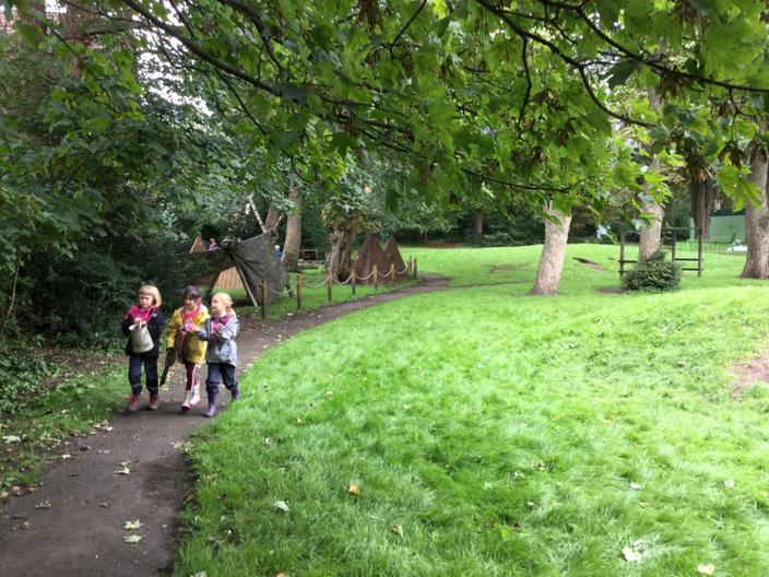 Going to the mud kitchen.