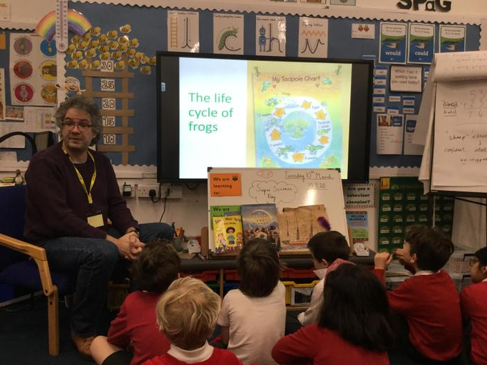 Robert Visits Year 2 to talk about AMAZING FROGS!