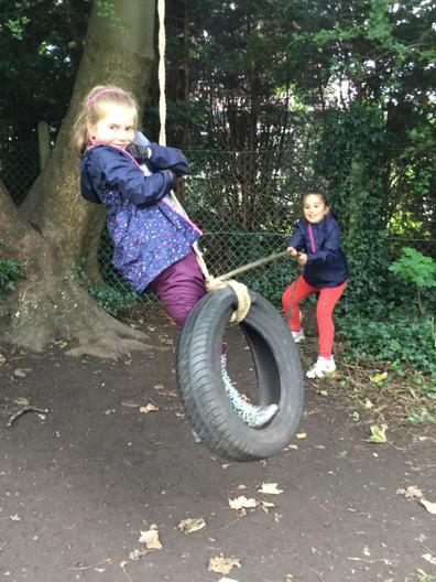 Ava loves the tyre swing