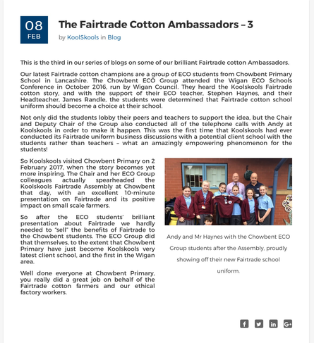 The Eco team featured in this Fair Trade Blog.