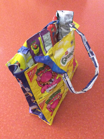 A bag recycled from crisp bags.
