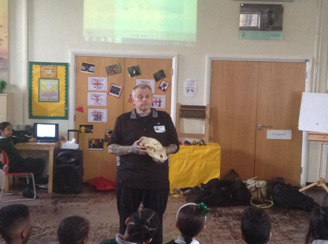 He showed us some animal bones.