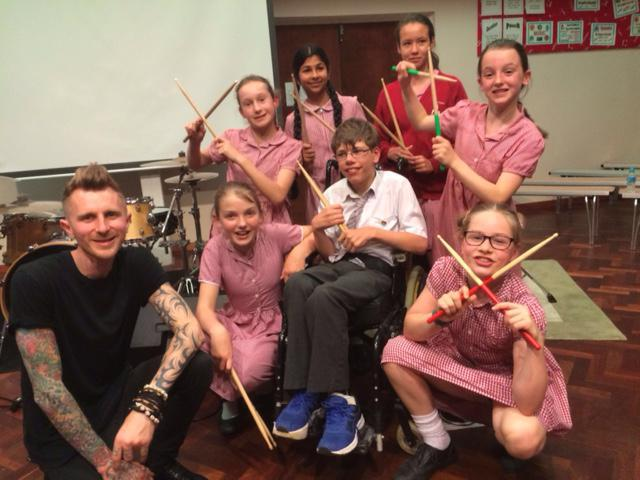 Gareth's drum students
