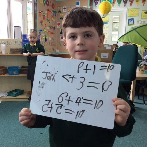 Writing number sentences.