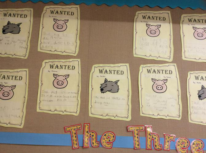The Three Little Pigs wanted posters