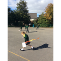 Testing our kites on the  KS 2 playground.