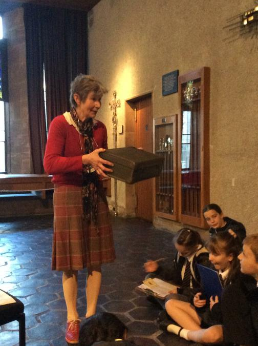 Discovering the contents of an evacuee's suitcase.