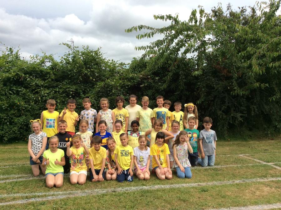 Dressed in yellow in aid of Cystic Fibrosis