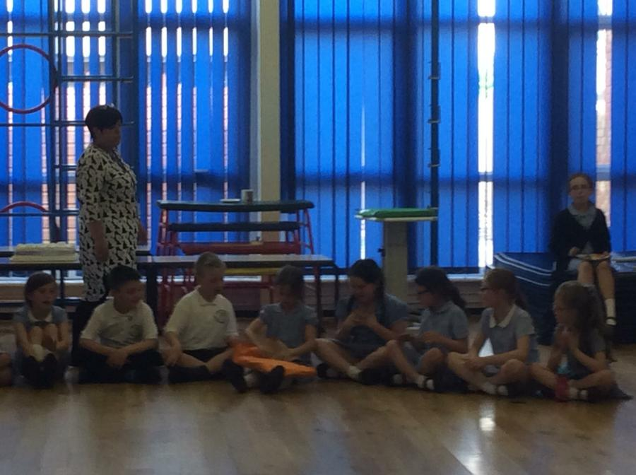 We got into a circle and played pass the parcel.