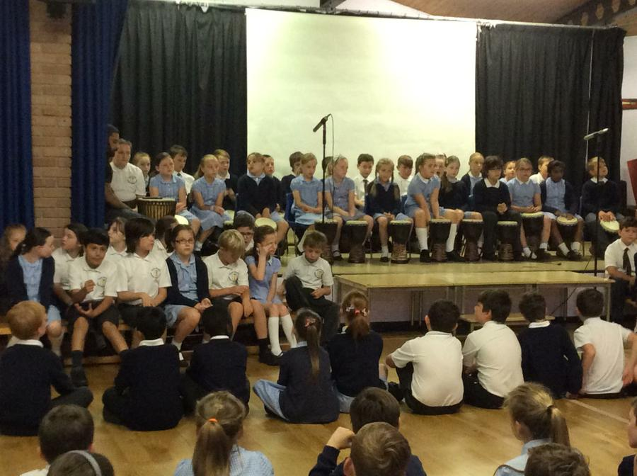Year 4 played the djembe drum for us this morning!