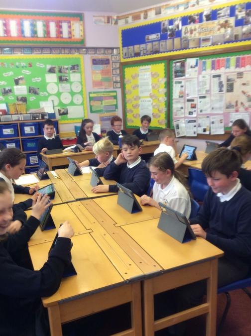 Year Six researching different manifestos