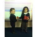 Exchanging gifts.
