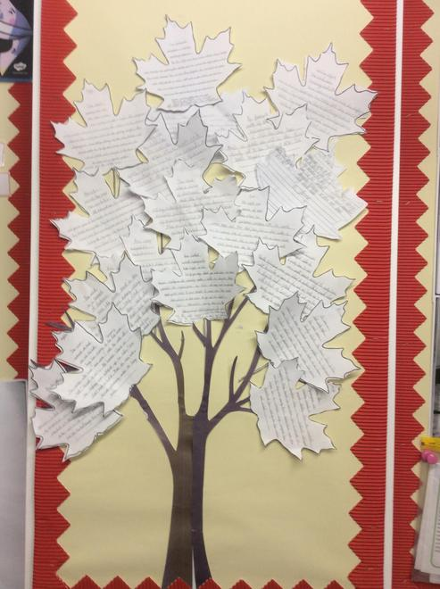 We published our retellings by writing our best paragraphs on a leaf to make a 3D book.