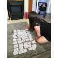Phoebe practicing the maths challenge