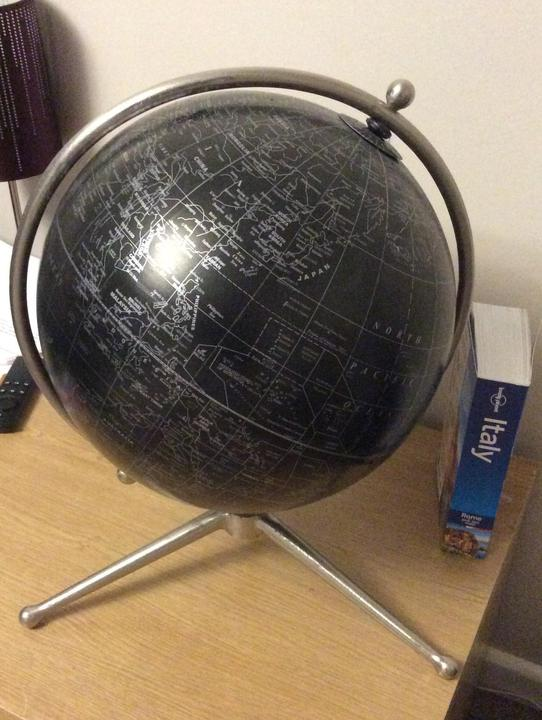 A black and silver GLOBE is always fascinating.