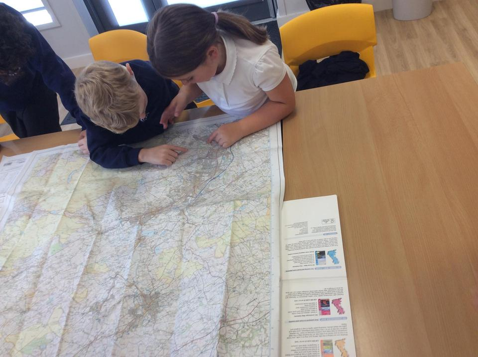 We are using a map to investigate our local area.