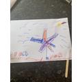 Ellsie made her own flag to celebrate VE day