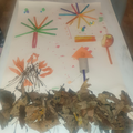 Jack's bonfire night artwork made with all sorts of materials