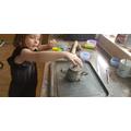 Making a clay teapot