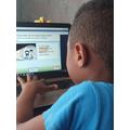 Joshua working hard on activelearnprimary.co.uk