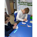 Decorating poppies using stickers