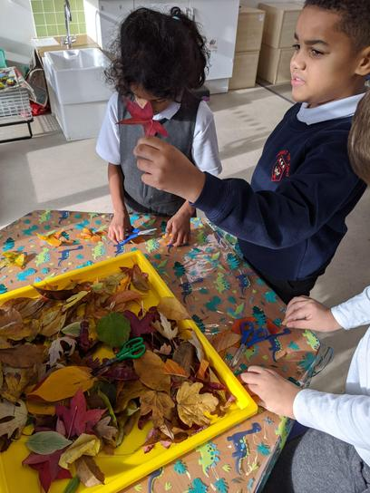 Collecting leaves for leaf rubbings