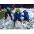 Child rolls a snowball