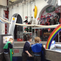Children explore the force of water.
