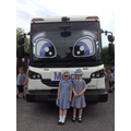 Class 2 children with Munch the recycling lorry.