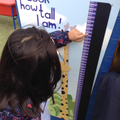 Child find numbers in height measurement chart.