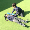 Child measures using skittles.