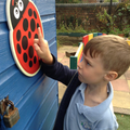 child counts a number of spots on a ladybird.