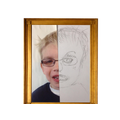 A finished pencil self portrait drawn by a child.