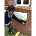 Child uses numberline to count.
