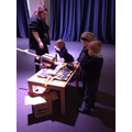 Children test their rockets.
