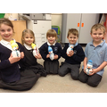 Children with their finished snowmen.